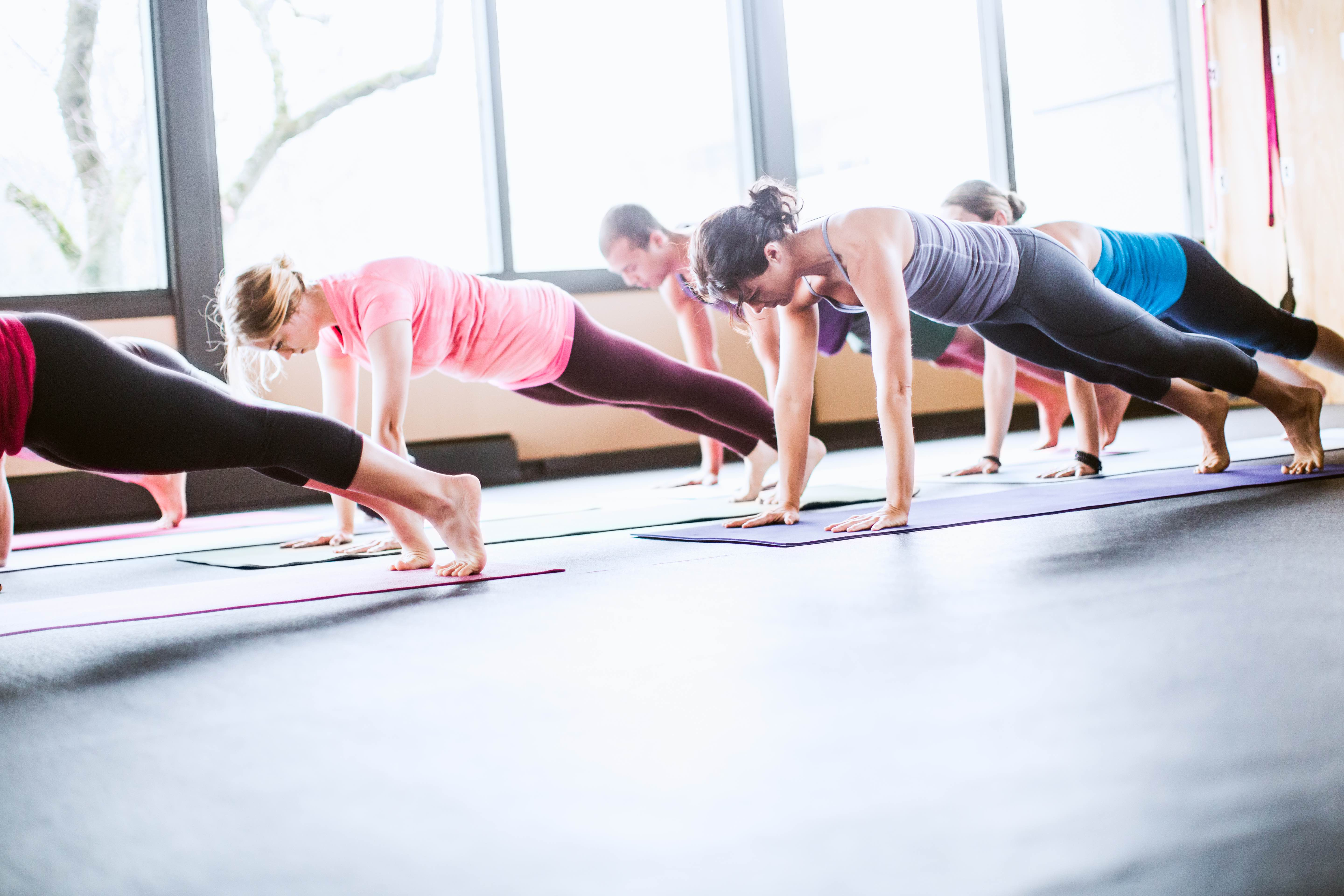 A mixed ethnicity group of men and woman practice different yoga forms and positions in a bright well lit studio.  Here they are in plank pose, or Uttihita Chaturanga Dandasana.  Horizontal with copy space.